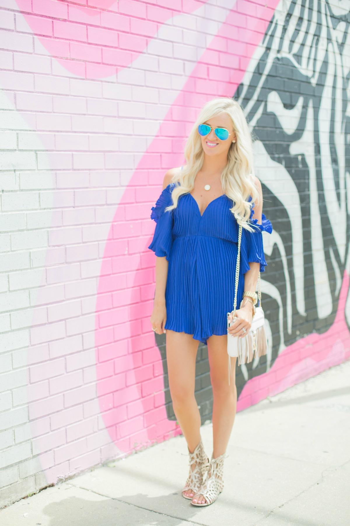Royal Blue Pleated Romper Mckenna Bleu