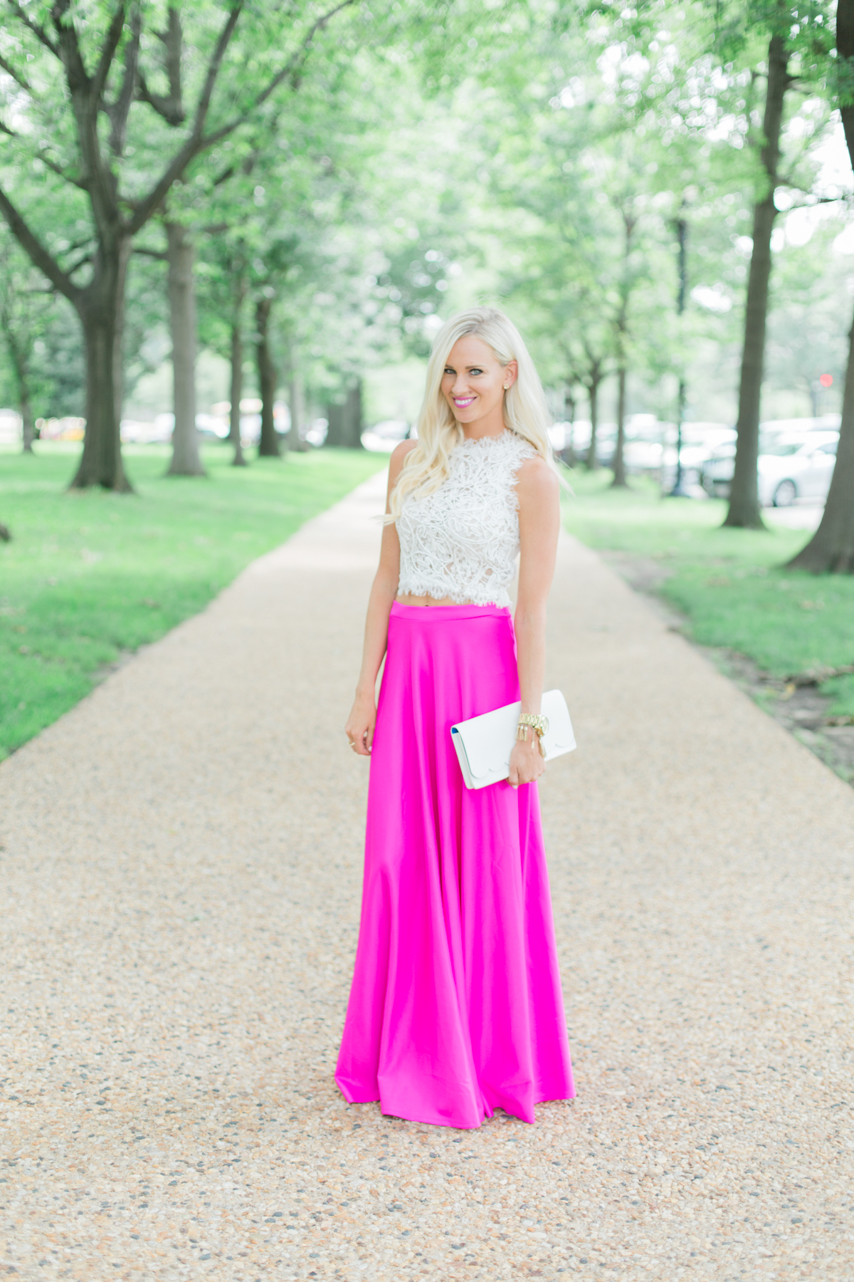 Hot Pink Maxi Skirt   Lace Crop Top - Mckenna Bleu