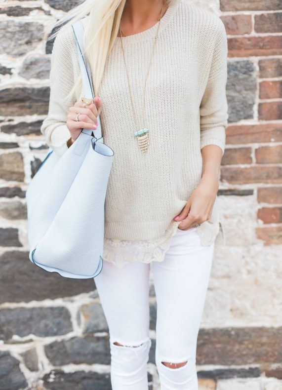 Lace Sweater + Tan Booties
