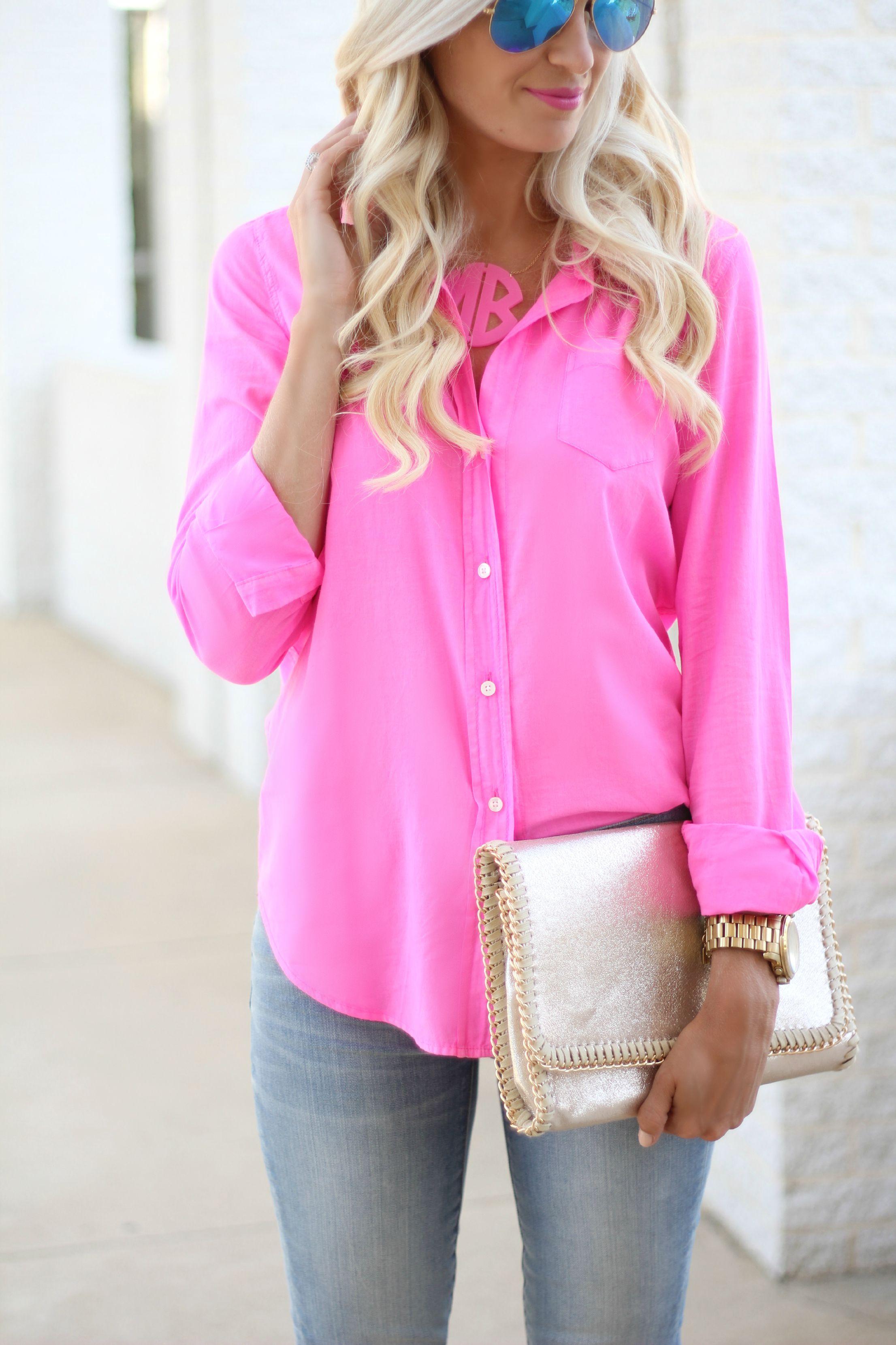 Hot Pink Button Down Shirt