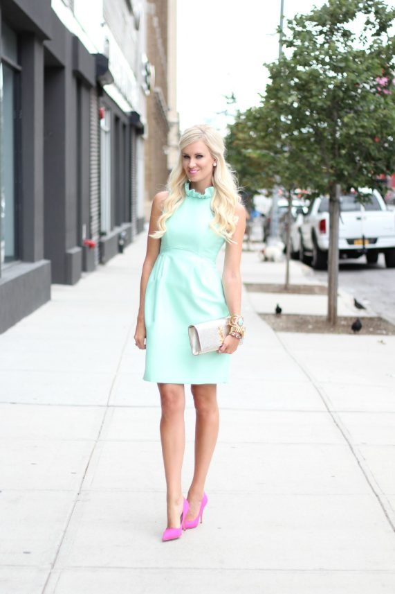 Mint Ruffled Dress + Pink Heels