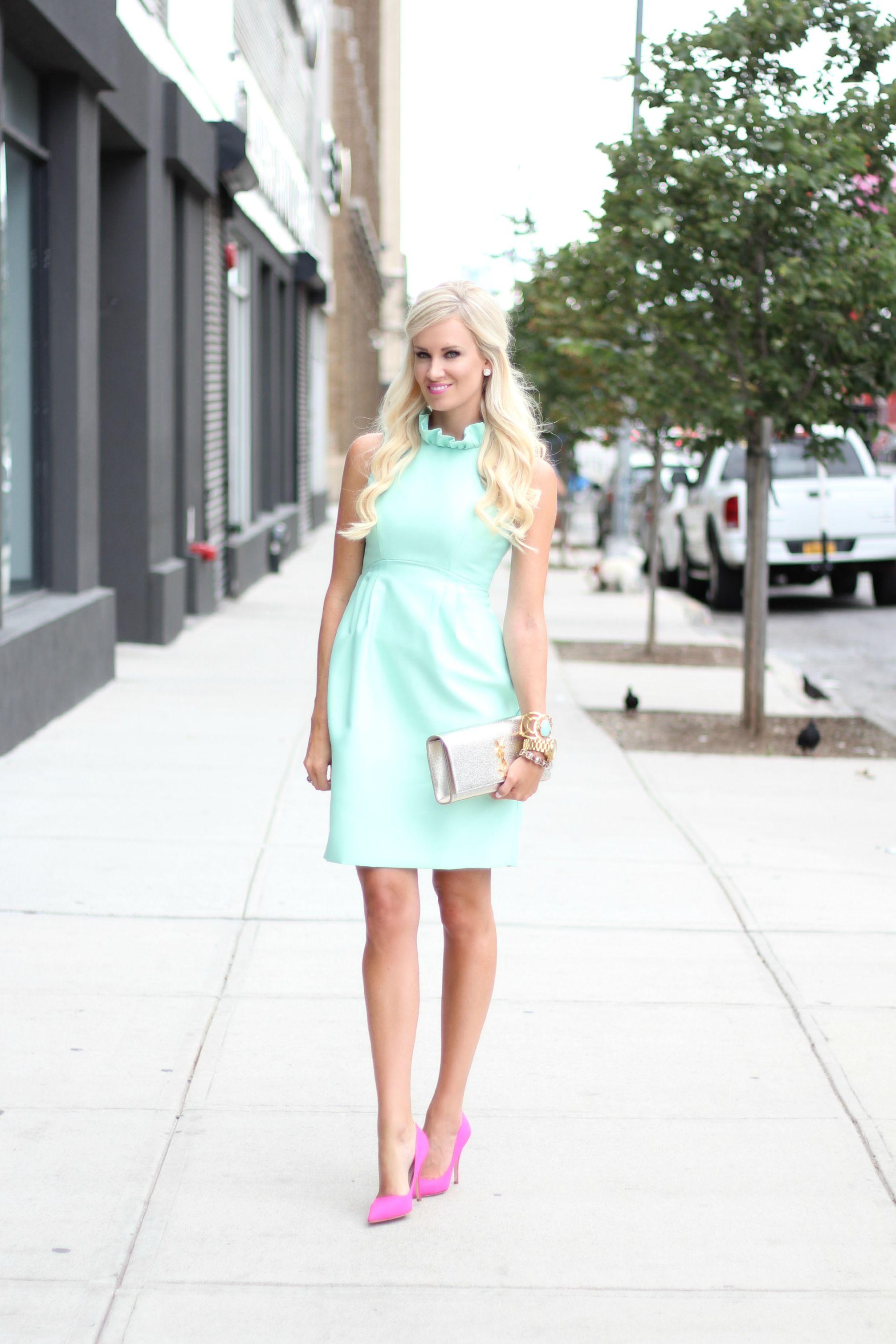 cbbb9116c3cb Mint Ruffled Dress + Pink Heels - McKenna Bleu