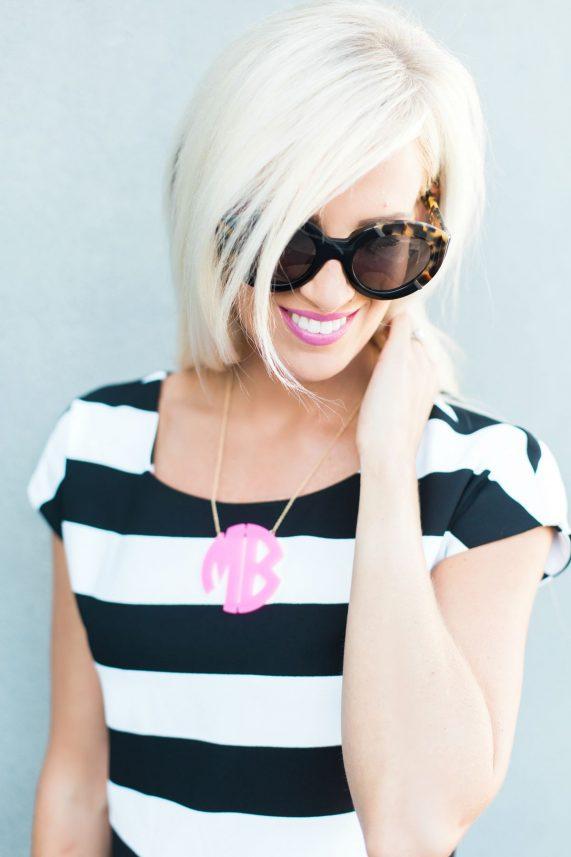 Stripe Top & Leather