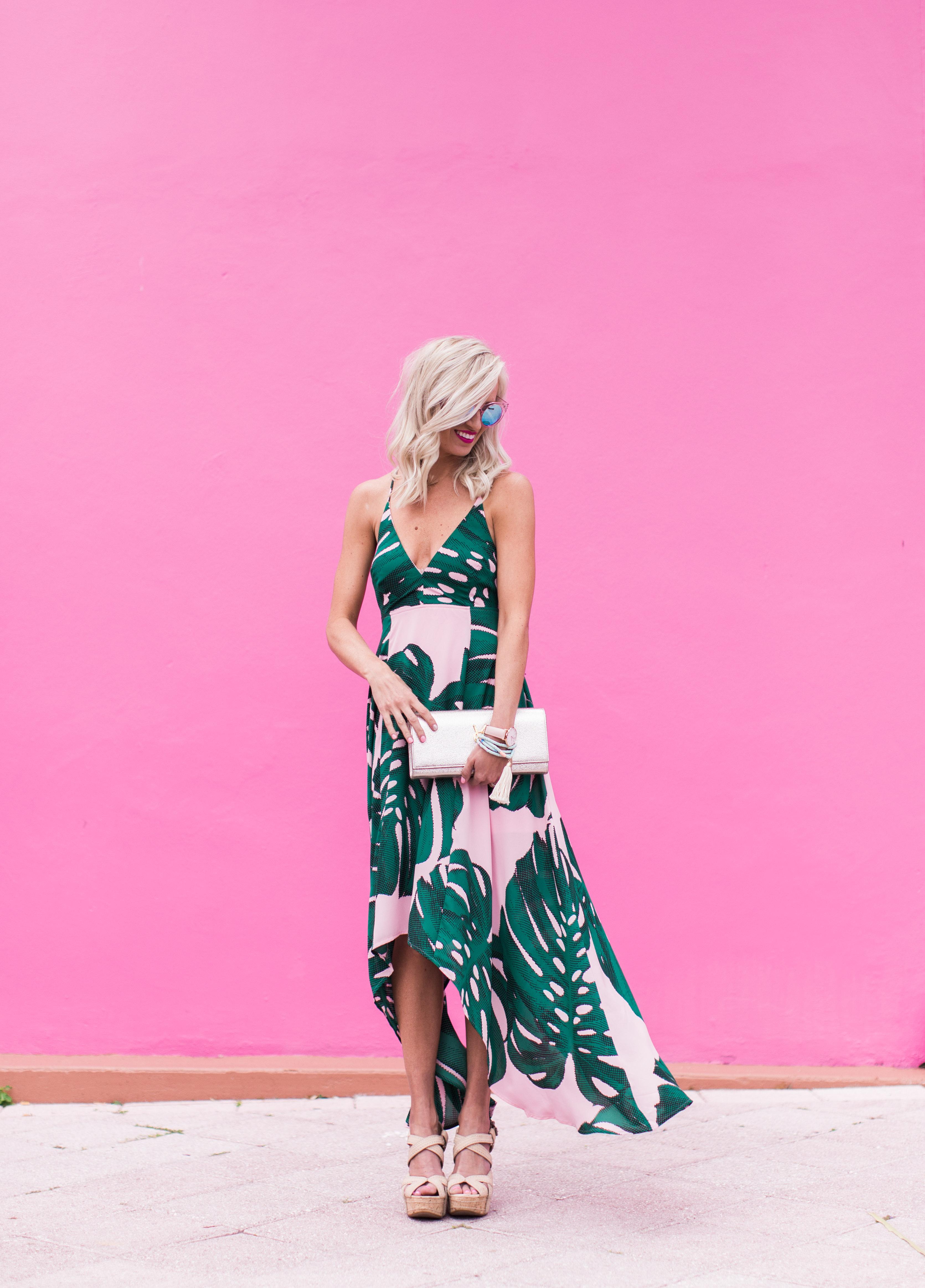 Pink Palm Print Dress Mckenna Bleu