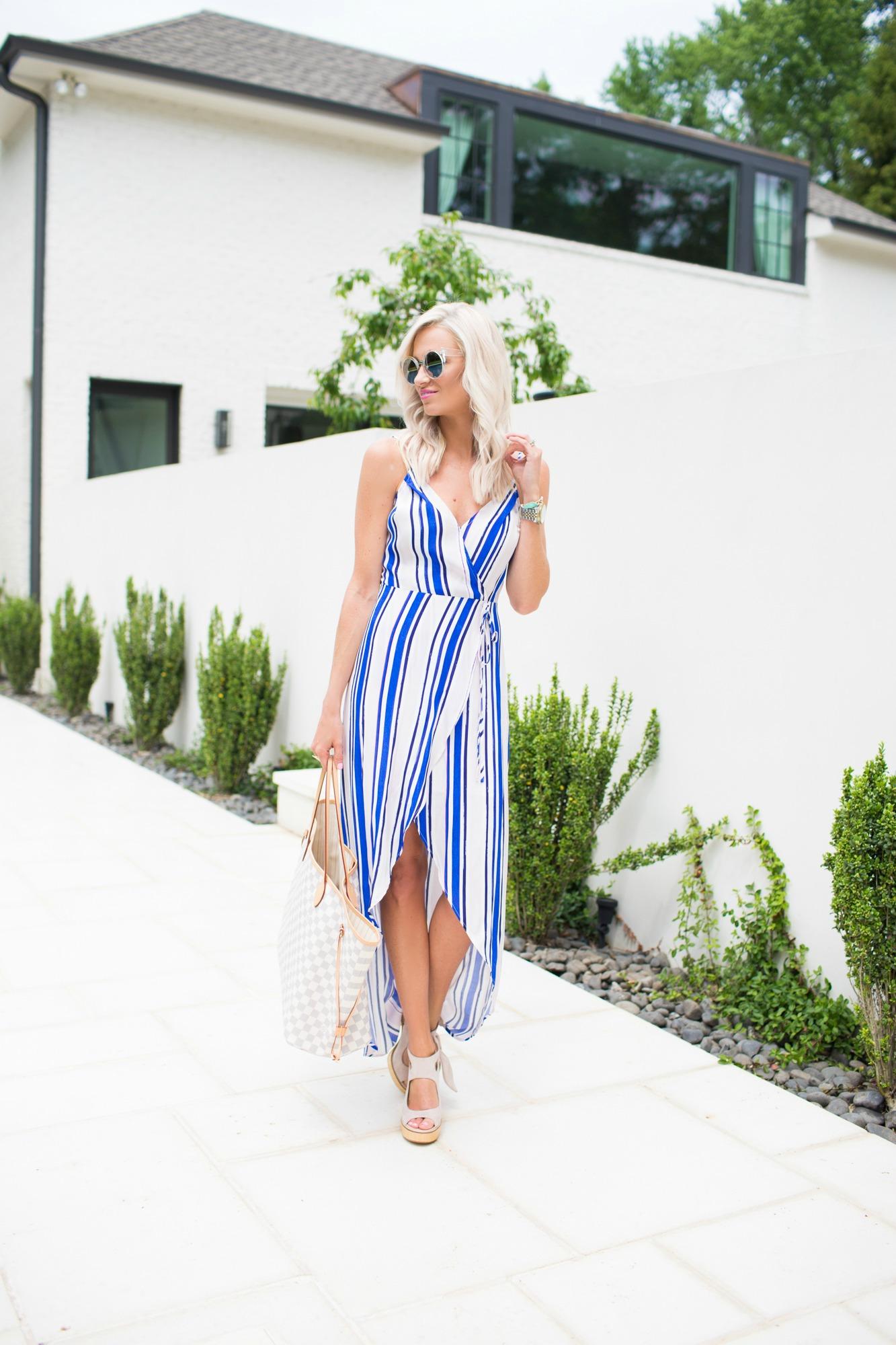 Stripe Wrap Maxi Dress