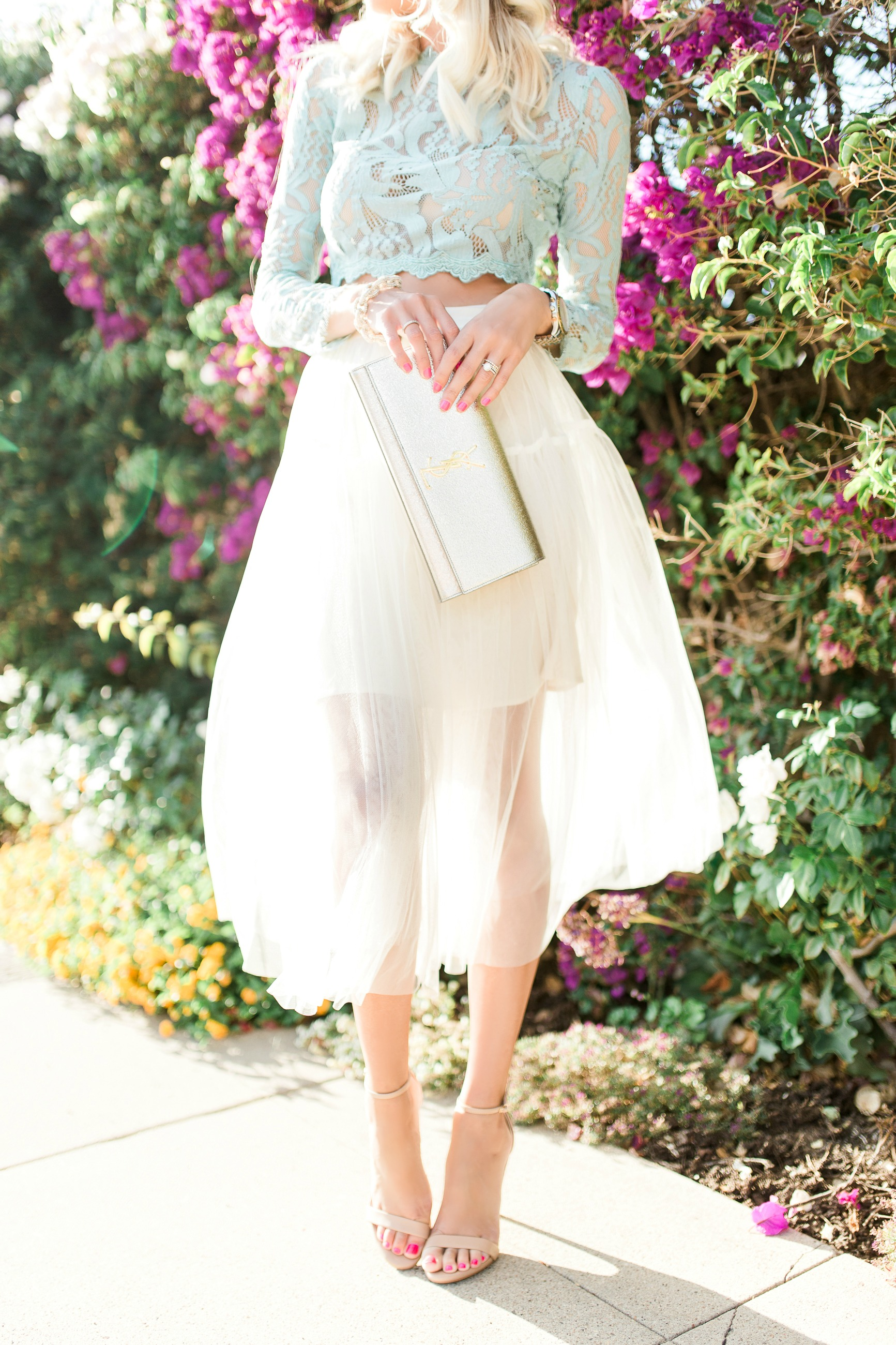 lace crop top   tulle skirt