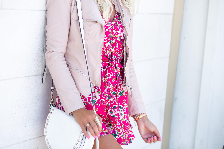 Pink Floral Romper + Blush Leather Jacket