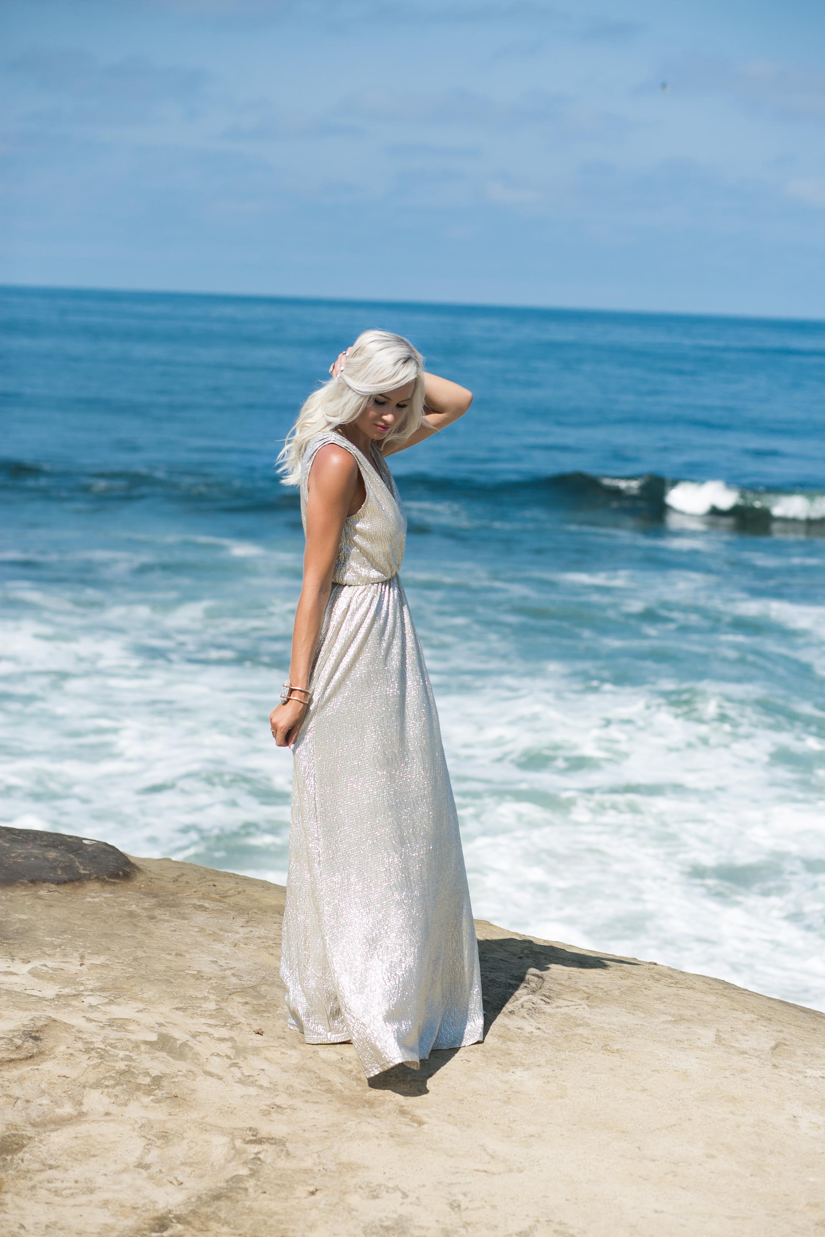shimmer maxi, lulus shimmer dress, silver bridesmaid dress