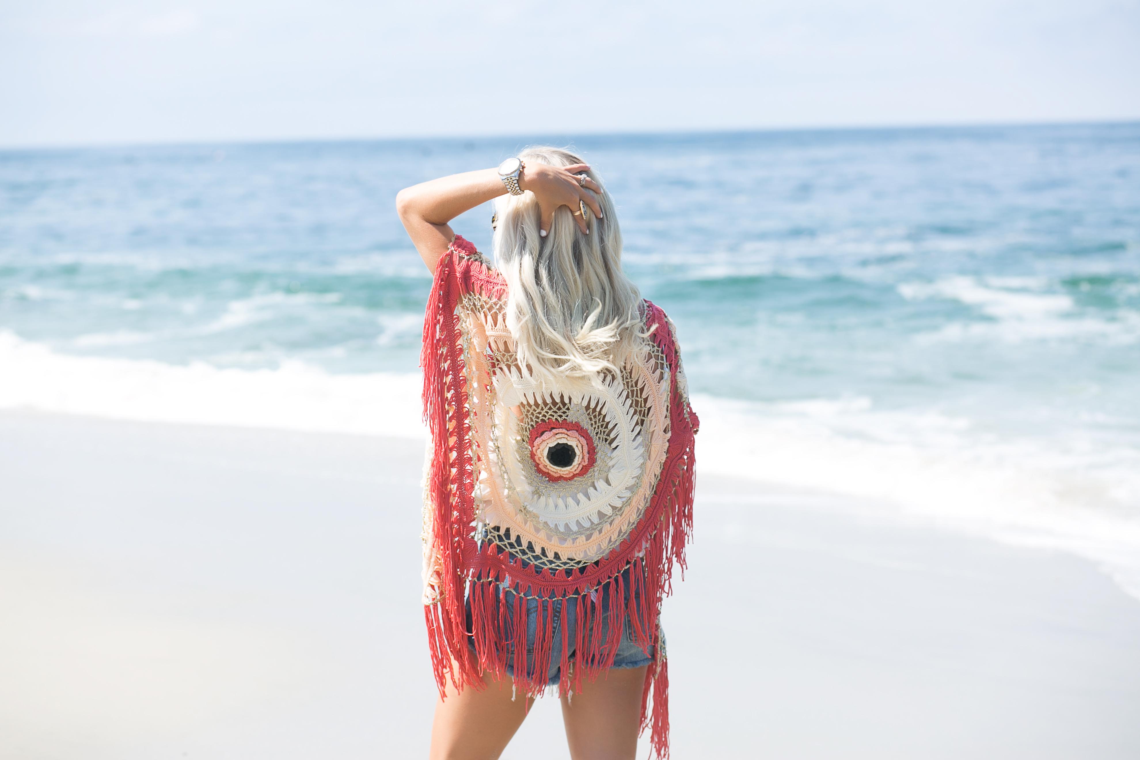 Free People Crochet Top Levis Denim Mckenna Bleu