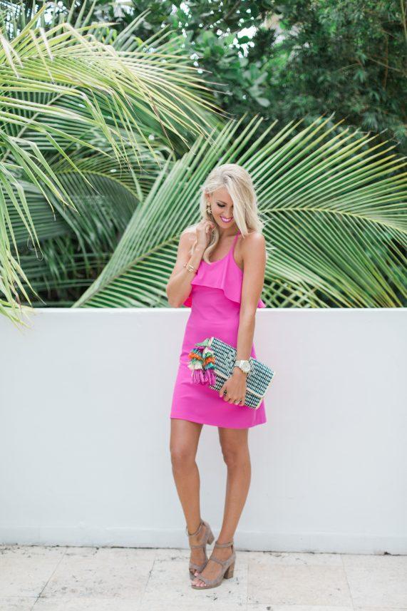 Pink Sundress + Tassel Clutch