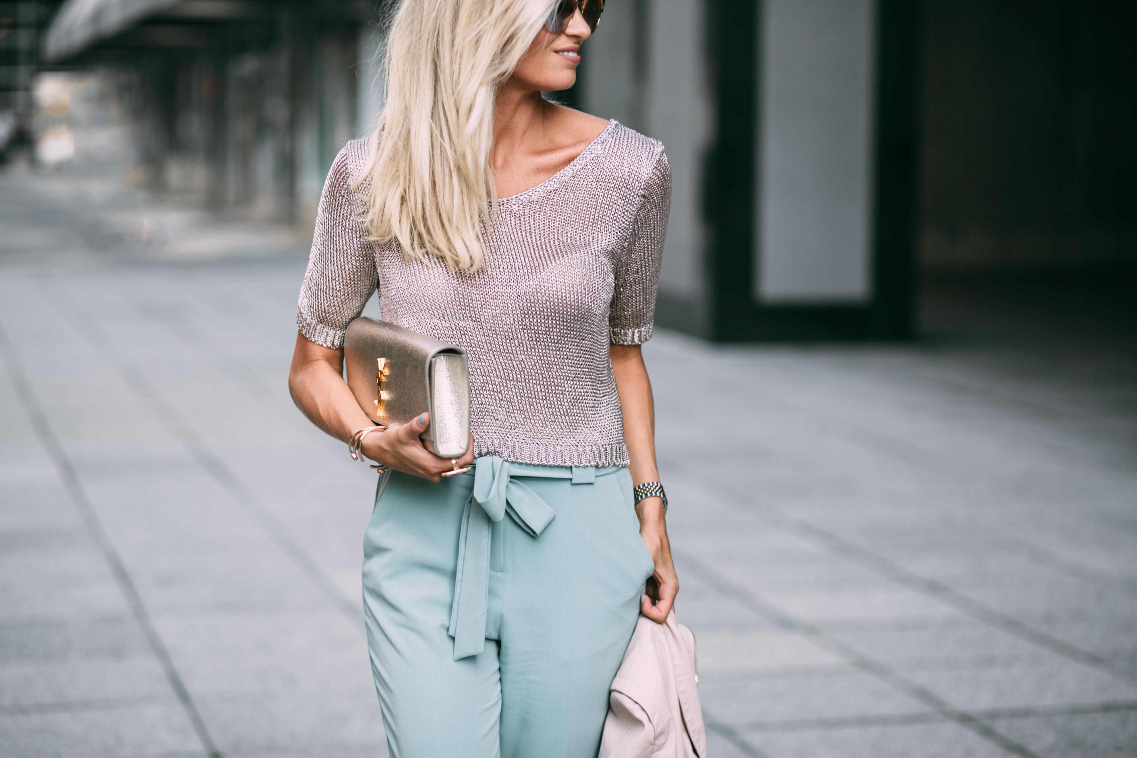 Metallic Knit Top + Mint Pants