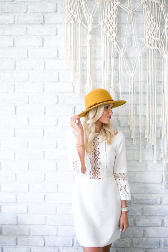 Ivory Bell Sleeve Dress + Yellow Fall Hat