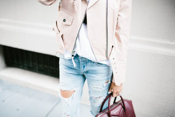 Blush Jacket + Distressed Denim