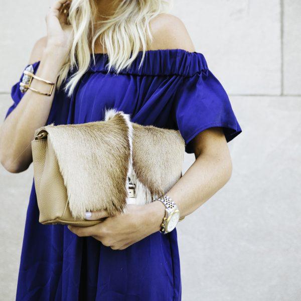 Sea NY Blue Dress + Python Bag