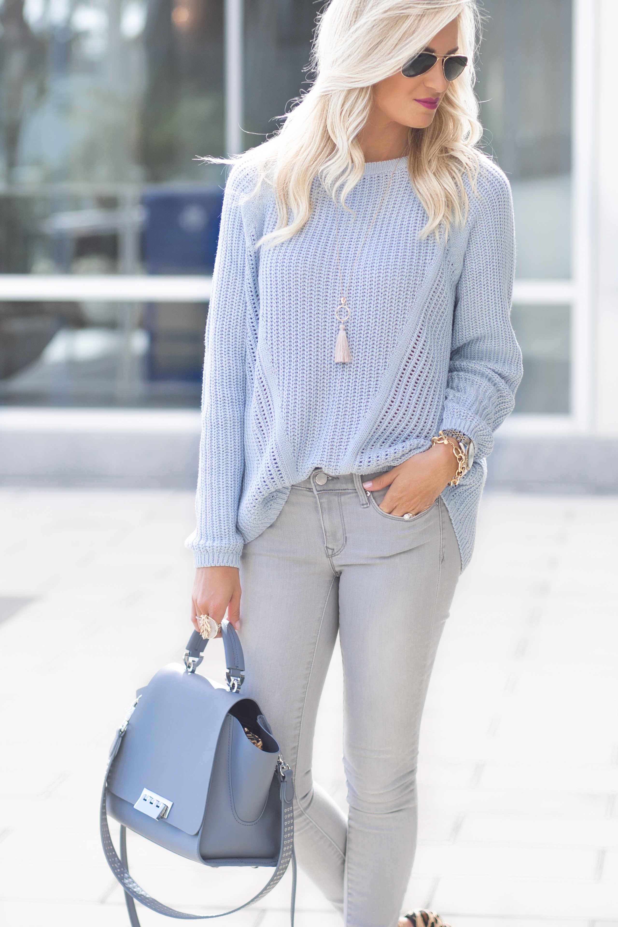 Blue Knit Sweater + Leopard Shoes - Mckenna Bleu