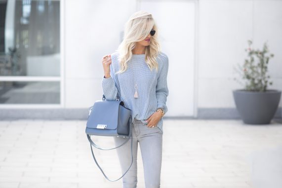 Blue Knit Sweater + Leopard Shoes