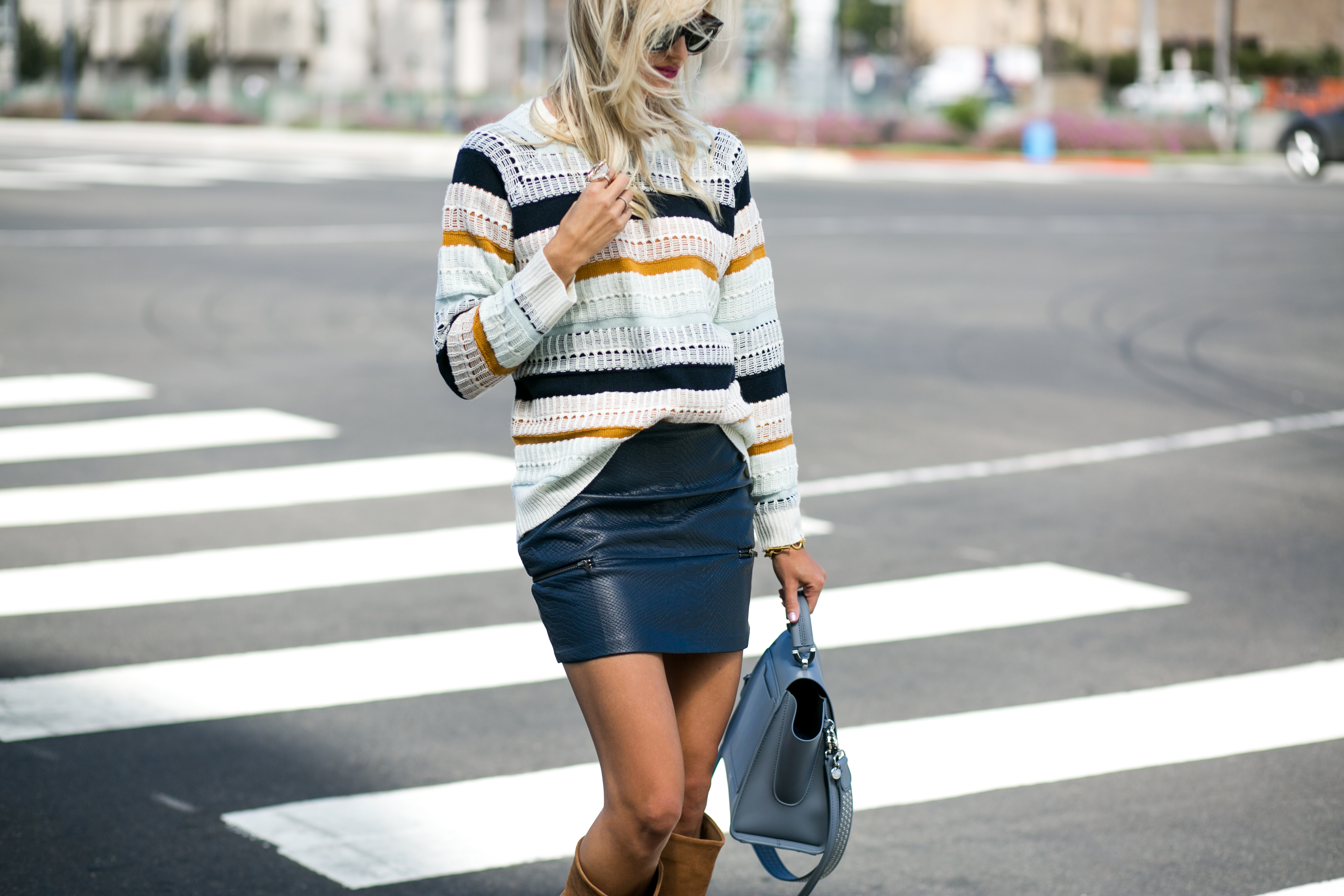 Leather Skirt + Tall Boots