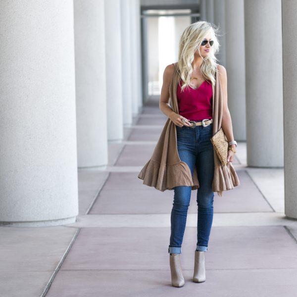 Sweater Vest + High Waisted Denim