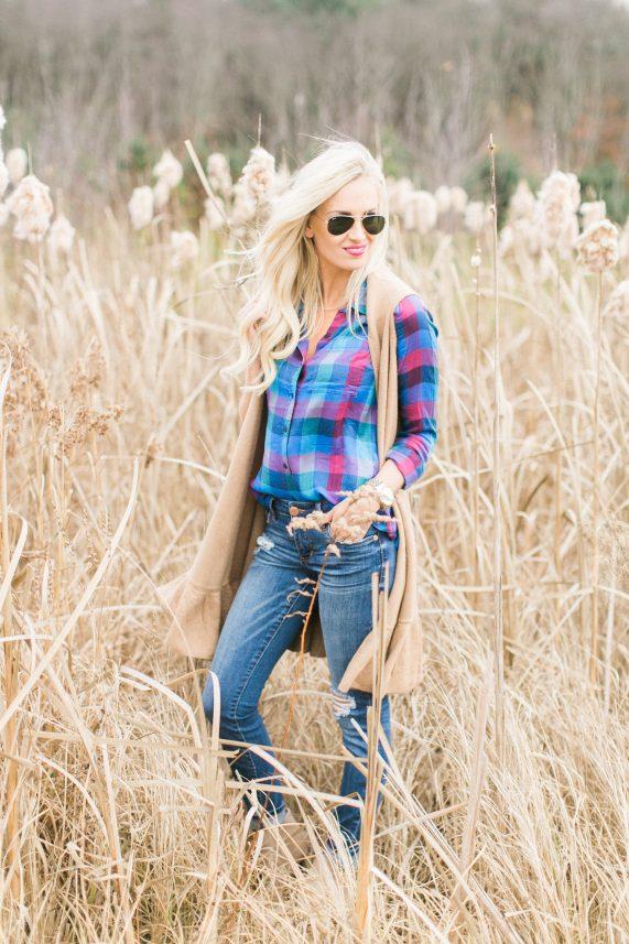Plaid Top + Sweater Vest