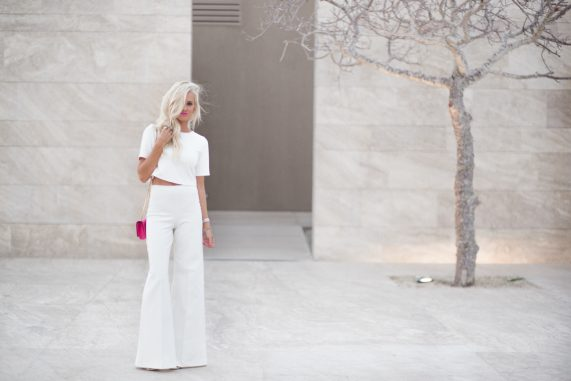 Winter White, High waisted Flares + Crop Top
