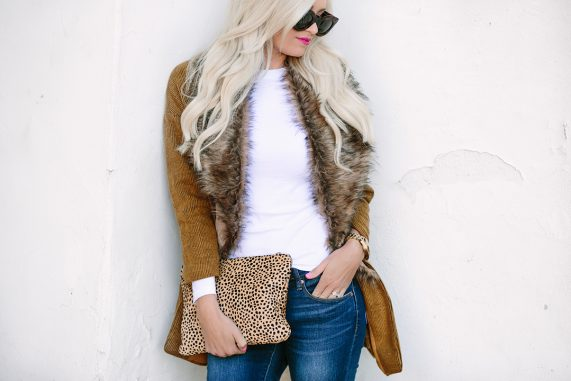 Faux Fur Sweater Jacket + Thanksgiving Outfit Inspiration