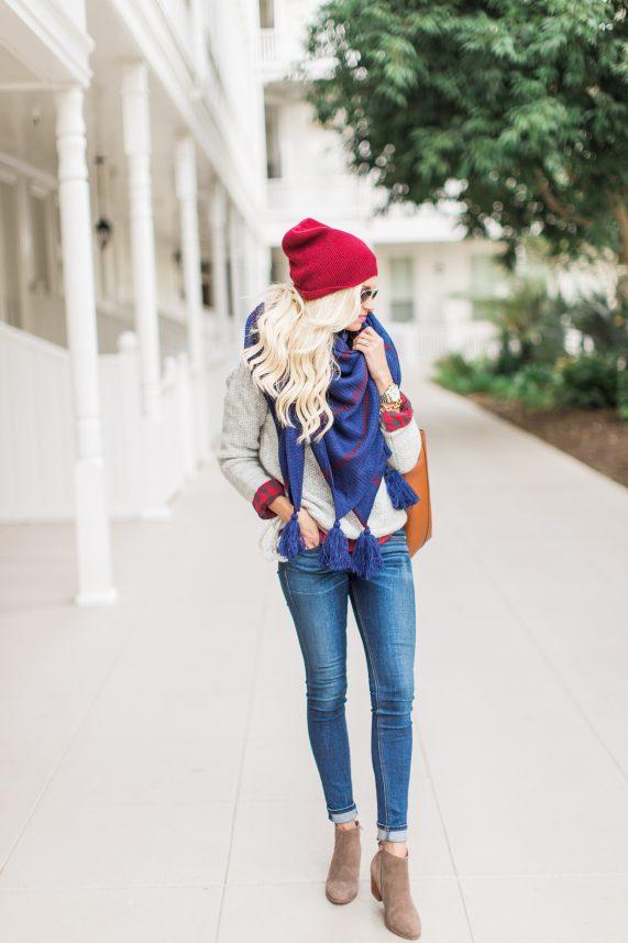Navy Tassel Scarf + Cozy Knit Sweater