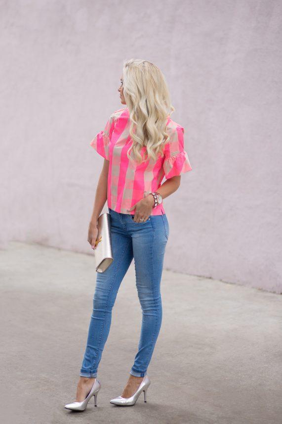 Neon Pink Plaid + Metallic Heels