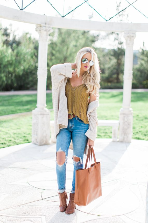 Beaded Tank + Oversized Cardigan and Ripped Denim