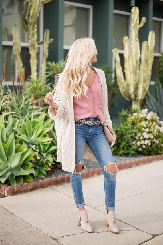 Pink Blouse + Oversized Cardigan