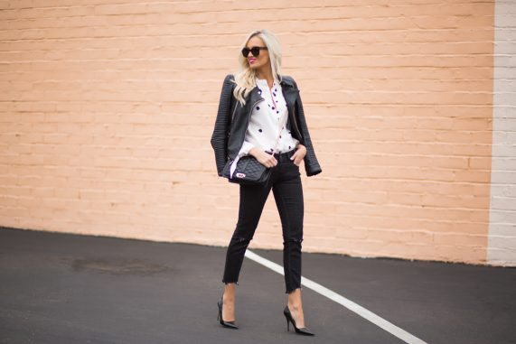 Black and White Polka Dot Blouse + Leather Jacket