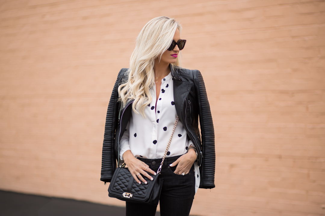 Black and White Polka Dot Blouse   Leather Jacket - Mckenna Bleu