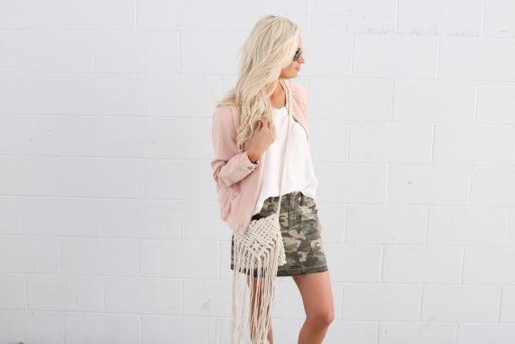 Blush Bomber Jacket + Camo Skirt
