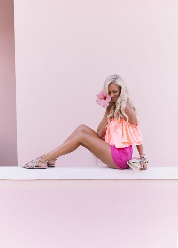 Coral Off the shoulder Ruffled Top + Hot Pink Shorts
