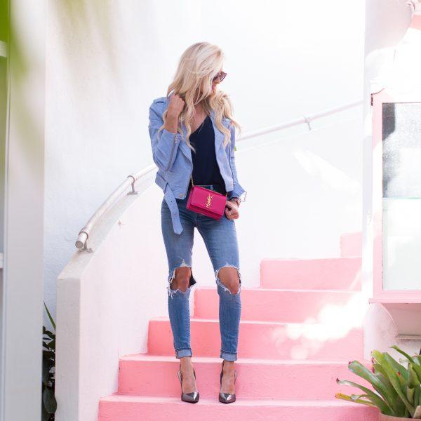 Blue Suede jacket + Metallic Heels