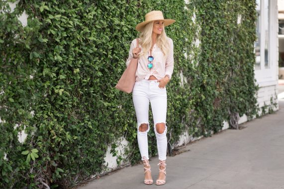 Casual Button Up + White Denim