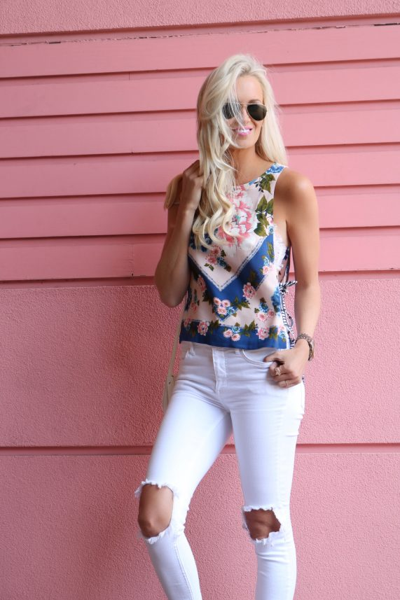 Floral Printed Tank + White Denim