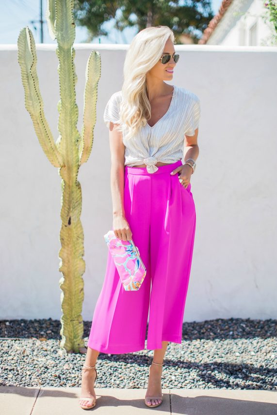 Hot Pink Cropped Trousers + Metallic Top