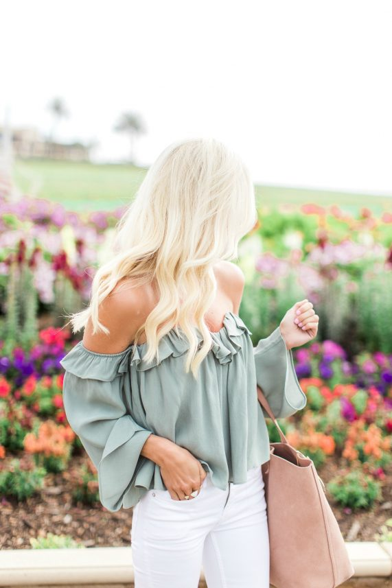 Off the Shoulder Ruffled Top + Distressed White Denim
