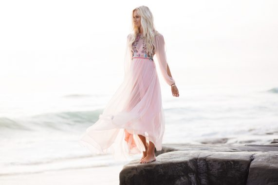 Mermaid Pink Beaded Maxi Dress