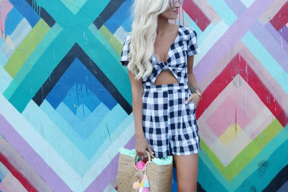 Gingham Romper + Embellished Sandals