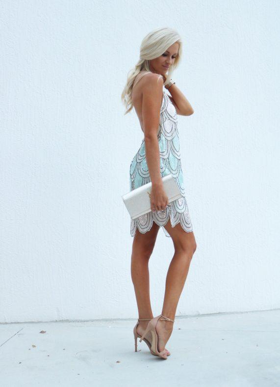 Sequined Scallop Mini Dress
