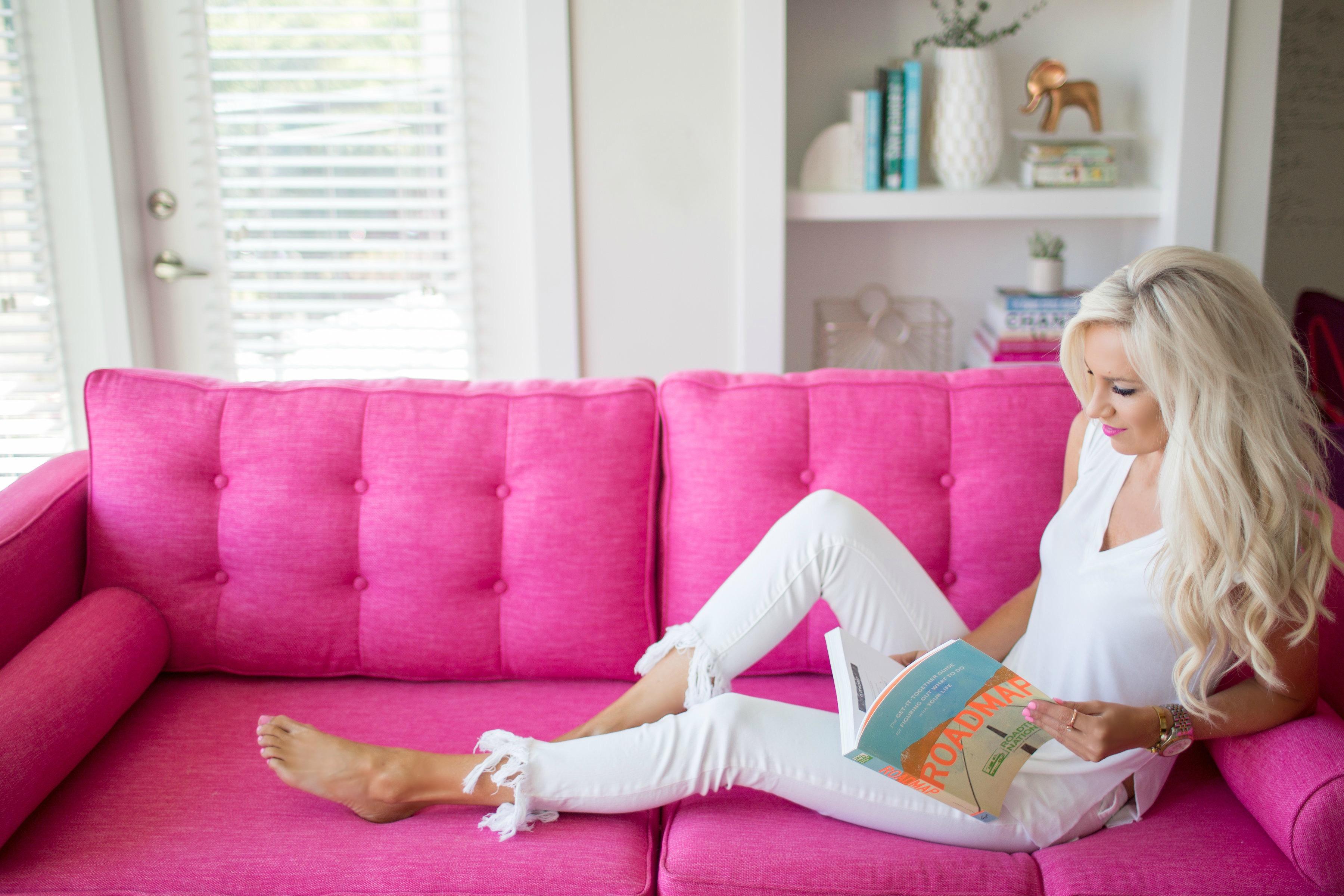 pink sofa goals mckenna bleu. Black Bedroom Furniture Sets. Home Design Ideas