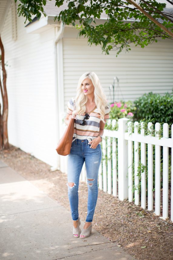 Casual Tee + High Waisted Denim