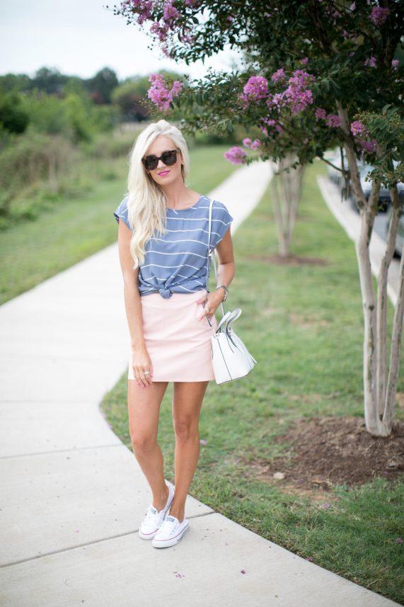 Striped Tee + Pink Mini Skirt
