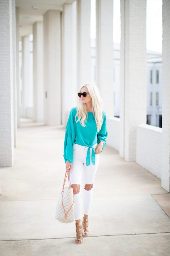 Turquoise Tie Top + White Denim