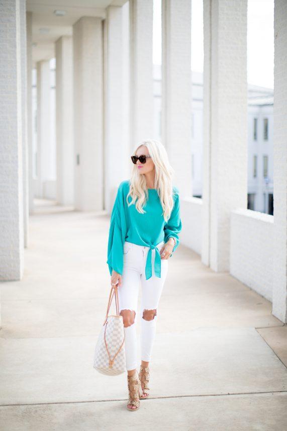 Turquoise Tie Top + White Denim