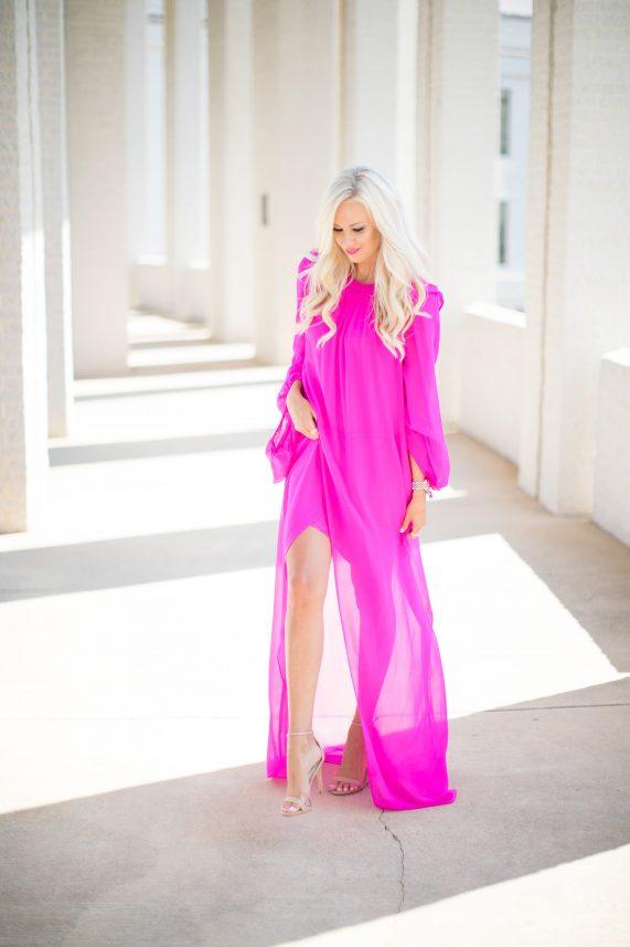 Hot Pink Chiffon Maxi Dress