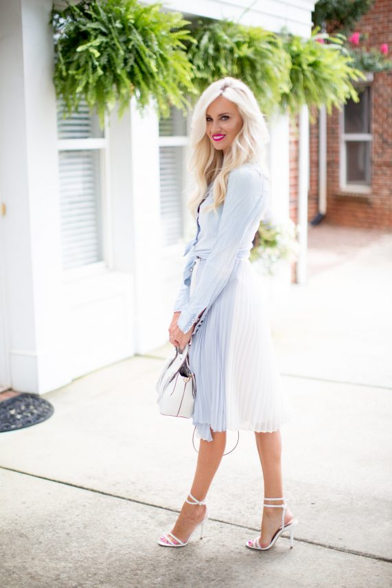 Pleated Pastel Skirt + Chambray Top