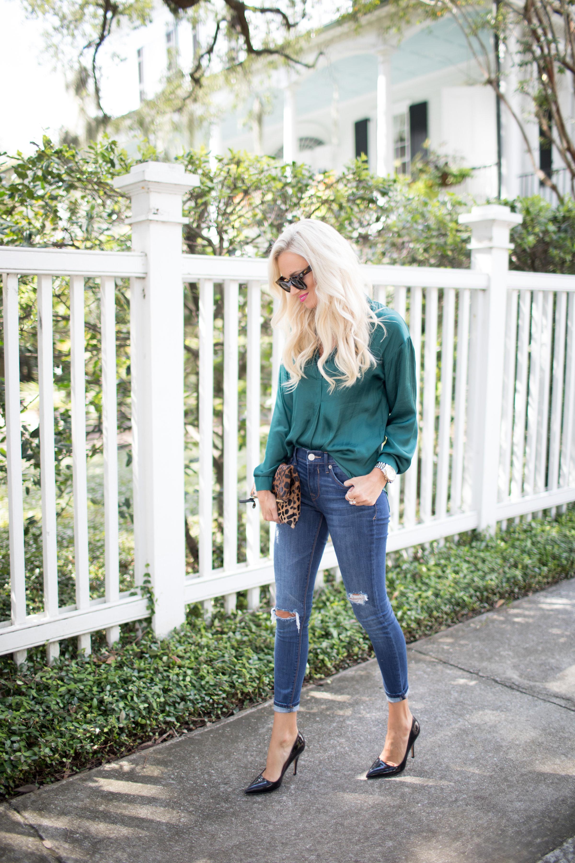Emerald Blouse + Leopard Clutch