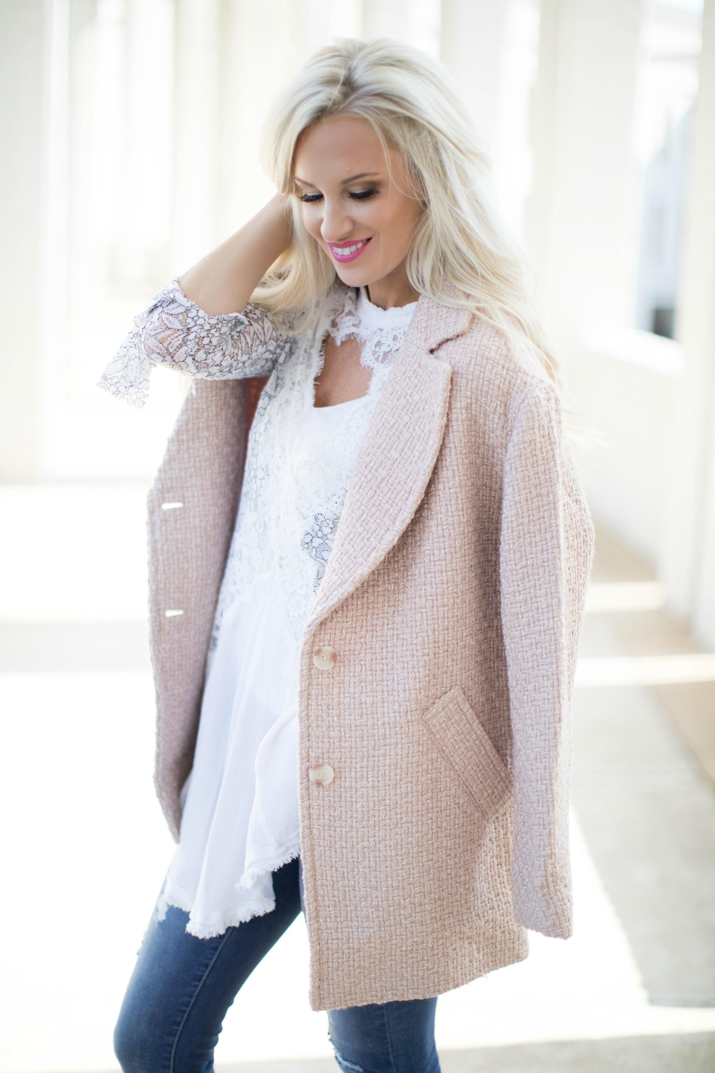 Blush Oversized Pea Coat And White Lace Tunic
